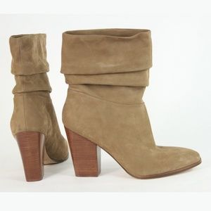 Tan Suede Stacked Heel Slouch Boot NWOB